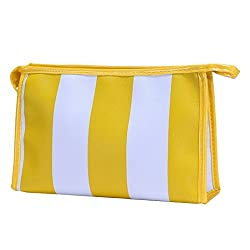 Hatop Fashionable Portable Stripe Cosmetic Bag Travel Toiletry Bag Organizer ... (Yellow)