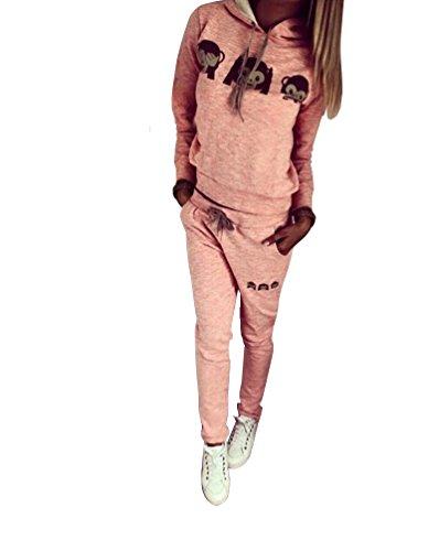 Baymate Damen Trainingsanzug Affe Muster Drucken Hoodie Sweatshirt Anzug mit Hose 2pcs Rosa M