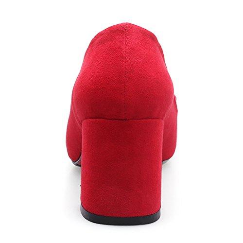 Bout Suede Pointu a DE Bloc Femmes avec Grand en CM Rouge Escarpins Moyennes UH Talon Boucle 5 Mode wPfgEP