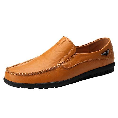 Dorical Erbsenschuhe Herren Leichte Schuhe -Niedrige Schuhe -Freizeit Kunstleder Comfortable Shoes - Einzelne Schuhe -Freizeitschuhe- Faule Schuhe -Hausschuhe Für Männer(Khaki,39 EU) (Uhr Chopard Männer)