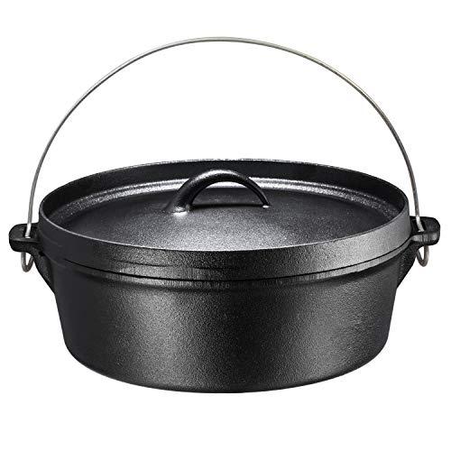 bruntmor Hänge Gusseisen Dutch Oven mit Flansch Deckel Eisen, für Lagerfeuer oder Kamin Kochen, flache Unterseite 6-quart