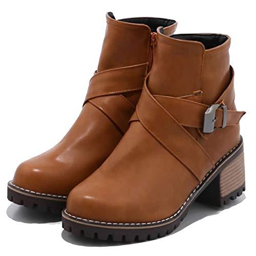 Frauen Klassische High Heel Stiefel Runde Kappe Schnalle Dekoration Innen ReißVerschluss Pelz Warme Stiefeletten Rutschfeste Schuhe