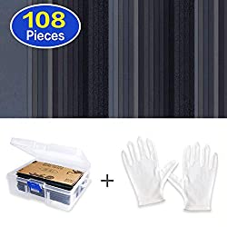 Sandpaper Assorted Wet/Dry, 108 Pieces 60 to 3000 Grit Sandpaper Assortment, 3 x 5.5 Inch Abrasive Paper Sheet with Free Box and Gloves, for Automotive Sanding, Wood Furniture Finishing