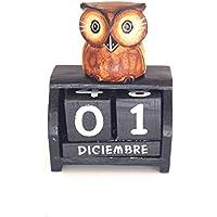 Bloque de Calendario perpetuo de madera diseño de búho