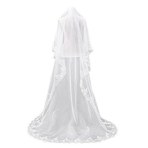 JUNGEN 1 PCS Voile de Mariee a 2 Couche pour Mariage Voile De Mariage Nouveau Mariage Blanc Décoration Jolie Dentelle 300cm