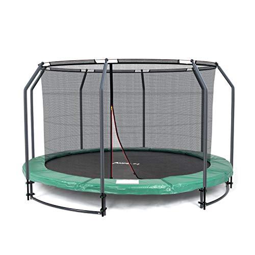 Ampel 24 Deluxe Ground Trampolin 366 cm komplett mit innenliegendem Netz, Sicherheitsnetz mit Stabilitätsring und 8 Stangen, für Kinder bis 35 kg