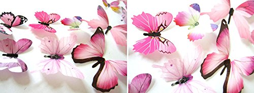 Xuthuly 12 Stück Aufkleber Wandaufkleber Hauptdekorationen 3D Schmetterling Regenbogen (Hexe Regenbogen Kostüm)
