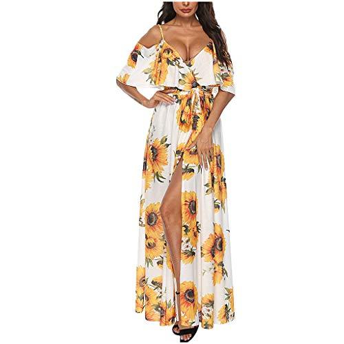 Frauen Sunflower Print Kleid mit V-Ausschnitt Sling trägerlosen Kurzarm Split Kleid Sommer Sexy High Waist Bohemian Beach Dress Sonojie