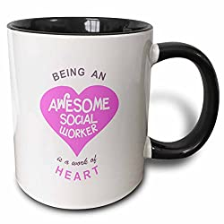 3dRose Being an Awesome Social Worker is a work of Heart - pink - job quote - Two Tone Black Mug, 11oz (mug_183884_4), 11 oz, Black/White