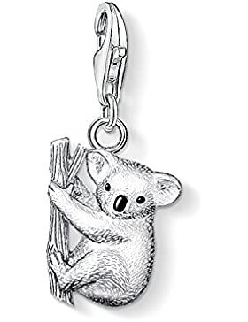 Thomas Sabo Damen-Charm-Anhänger Koala Charm Club 925 Sterling Silber geschwärzt schwarz 0643-007-12