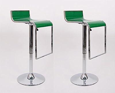 2x Barstools green Plastic Swivel height adjustable - inexpensive UK light shop.