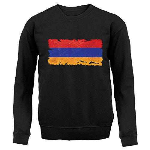 Armenia / Armenien Flagge im Grunge-Stil - Kinder Pullover/Sweatshirt - Schwarz - XL (9-11 Jahre)