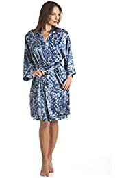 Robe de chambre luxueuse pour femme - satin - motif floral - bleu marine