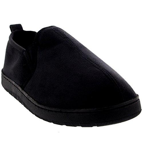 Hommes Flâneur Glisser Sur Chaleureux Hiver Moccasin Fourrure Chaussure Noir