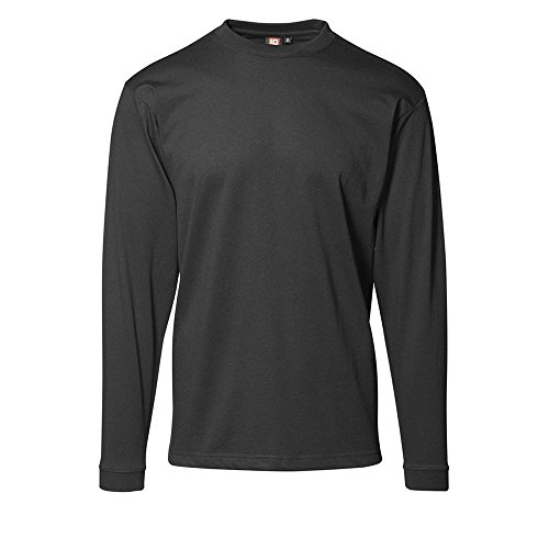 ID Herren Langarm T-Shirt Grau-Meliert