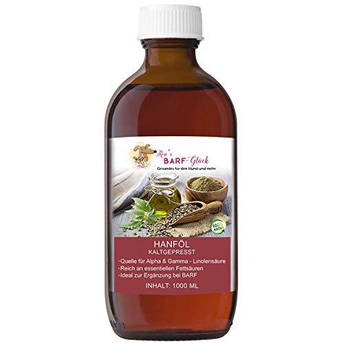 Hanföl für Hunde kaltgepresst 1 Liter - Ideal auch bei Barf-Fütterung - Premium Hanf Öl für den Hund & andere Tiere - Reines Naturprodukt - Hanföl für Welpen & Erwachsene Hunde