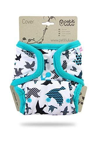 Petit Lulu One Size Überhose (4-15 kg) für Stoffwindeln Druckknöpfe (Türkisfarbene Vögel) (Stoffwindel One Size)