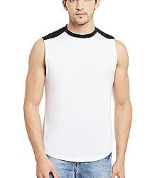 Gritstones Wht/Black Round Neck Sleeveless Vest (t shirts) GSVST1486WHTBLK-L