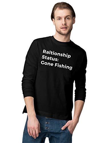 BLAK TEE Relationship Status Gone Fishing Funny Slogan Herren Langarmshirt M - Fish Net Bait