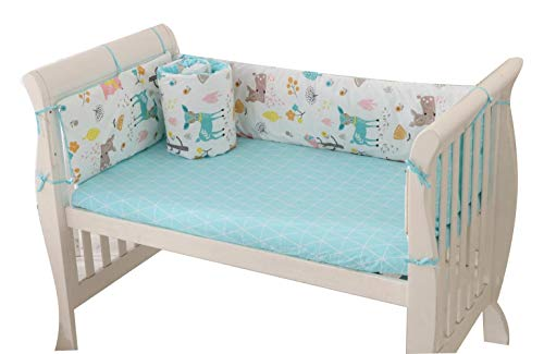 Baby Infant Crib Bumper Pads Bed Cotton Safety Rail Guard Breathable, Cradle Protector, Cot Sleep Bumper Pillow, Machine Washable, Bed Sheet, 4-Sides Coverage, 105×60,B6
