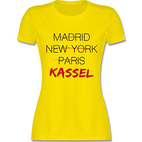 Shirtracer Städte - Weltstadt Kassel - Damen T-Shirt Rundhals Lemon Gelb