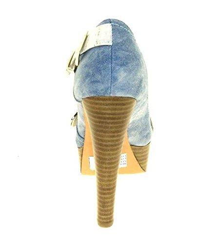 1TO3 - Peep toes en tissu Bleu