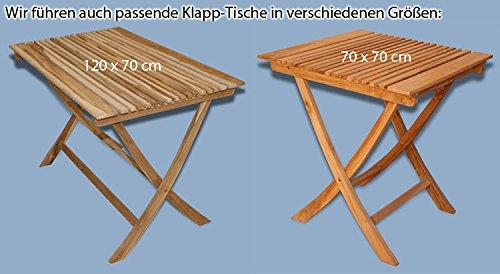 KMH mbH KMH®, 2er Set Klappstühle ohne Armlehnen aus echtem Teakholz (#102072)