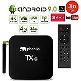 PHANTIO TX6 Android 9.0 Smart TV Box : JIO TV Hotstar WiFi2.4G BT4.0 Quad-Core 3D 4K Ultra HD, H.265 Decoding, USB3.0 Airtel TV Netflix YouTube and More (4GB / 32GB)