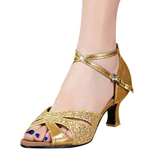 Oasap Women's Peep Toe Sequins Cross Strap Latin Dance Shoes Gold