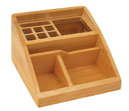 Wedo Bambus - Organizador de material de escritorio (Con 11 compartimentos), marrón