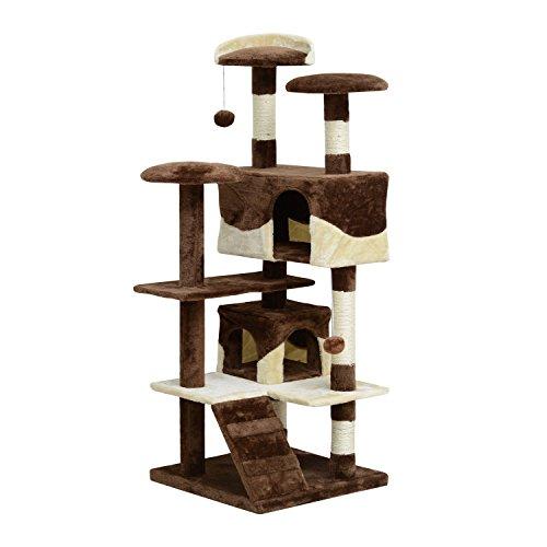 Pawhut albero tiragraffi per gatti in peluche e sisal con cucce e pallina, caffè e crema, 50x50x132cm