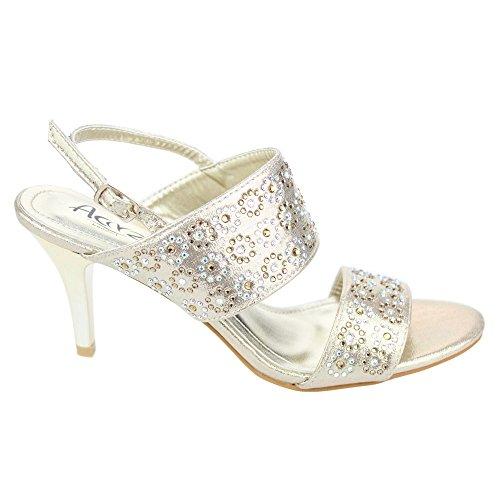 Aarz Femmes Mesdames Soirée de soirée de mariage Prom moyen talon Diamante Sandal Chaussures Taille (or, argent, champagne) Or