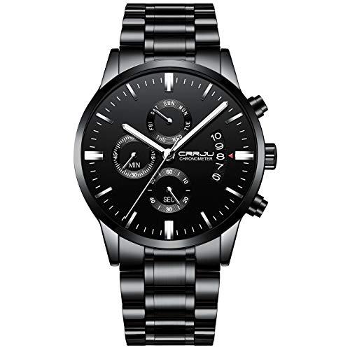 CRRJU Multifunktionelle Sport Casual Edelstahl Armbanduhr für Männer Military Schwarz Big Face 2222SS