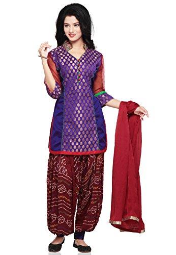 Utsav Fashion Chanderi Brocade and Dupion Silk Punjabi Suit in Purple Colour