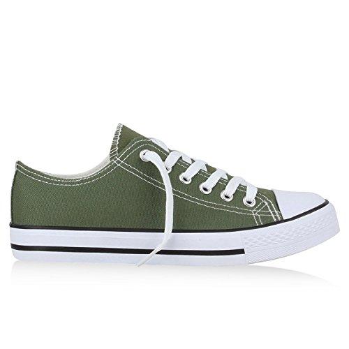 Bequeme Unisex Sneakers | Low-Cut Modell | Basic Freizeit Schuhe | Viele Farben | Gr. 36-45 Olivgrün