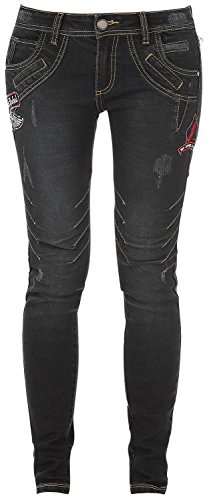 Rock Rebel by EMP Seams Megan (Skinny Fit) Jeans donna nero W32L34