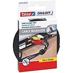 Cinta para agrupar cables tesa On & Off (5 m x 10 mm), color negro