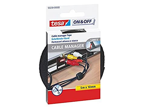 tesa On & Off Cable Manager ruban velcro LARGE noir