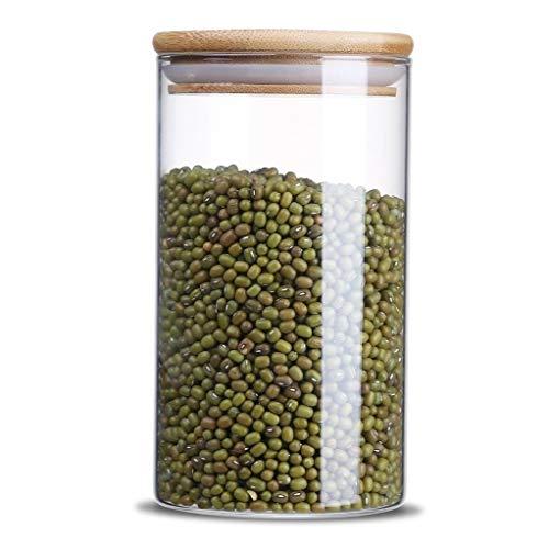 Glas Vorratsglas, Küche Lebensmittelbehälter mit Bambus Deckel machen es luftdicht -750ml
