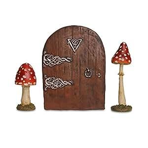 Fairy garden ornament starter kit set of two mushrooms for Amazon uk fairy doors