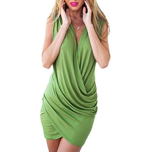 Sasairy Damen Sommer Sexy V-Neck ärmellos Irregulär Stretch Kurze Kleider Retro Cocktailkleid Party Clubwear (Retro Sexy Kleid)
