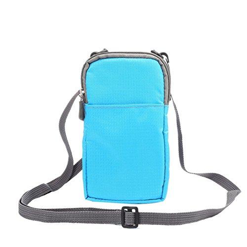 Hülle für 6.0 Zoll Leinwand Handy, TechCode Leinwand Handytasche Holster Freizeitaktivitäten einfach Lanyard Retro kleine Crossbody Tasche Aufbewahrungstasche schlichten Paket Passend für alle 6.0 Zoll mobile phones (Blau)