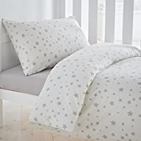 Silentnight Safe Nights Cot Bed Duvet Cover & Pillowcase Set, Grey Stars - ukpricecomparsion.eu