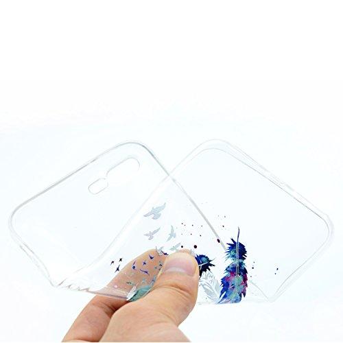 iPhone 7 Plus Hülle,iPhone 7 Plus Schutzhülle,iPhone 7 Plus Silikon Hülle,ikasus® TPU Silikon Schutzhülle Case Hülle für iPhone 7 Plus,Durchsichtig mit Gemalt Kunst Malerei Muster Handyhülle iPhone 7  Blau Feder Vögel