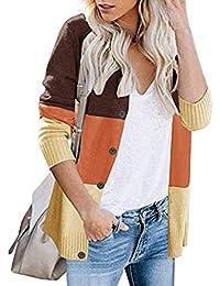 Cardigan Mujer Invierno Otoño 2019 SHOBDW Liquidación Venta Blusa Tops Abrigo Mujer Lana Calentar Patchwork Suave Casual Chaqueta Mujer Largos Botón Jersey Mujer Talla Grande