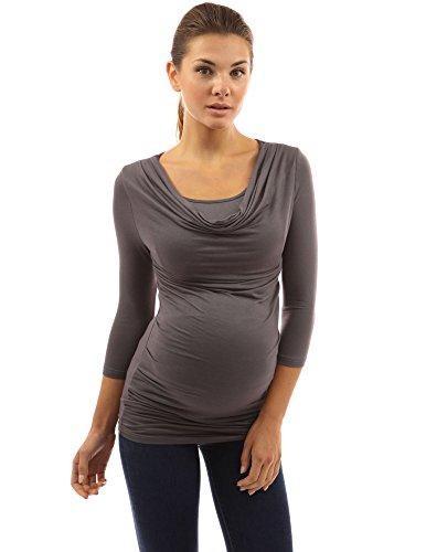 PattyBoutik Mama Maternité Tunique 2-en-1 à manches 3/4 gris foncé