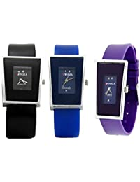 Freny Exim Sophisticated Set Of 3 Black Blue And Purple Square Dial Soft Strap Analog Women Watches For Girls