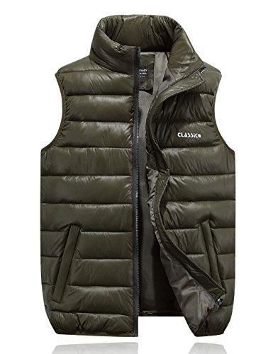 ZEARO Doudoune Ultra Legere Homme pour Hiver - Manteaux sans Manches Chaud - Blouson Jacket Decontracte - 4 Couleurs Vert