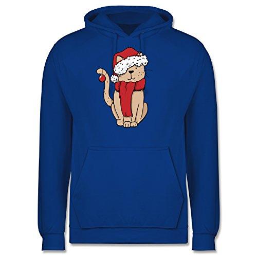 Weihnachten & Silvester - Weihnachts-Katze - Männer Premium Kapuzenpullover / Hoodie Royalblau