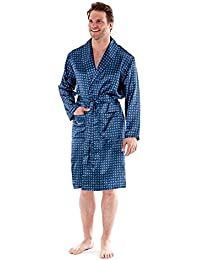 48fe89871e7 Mens Paisley Satin Kimono Dressing Gown. Grey or Navy. Sizes M L XL 2XL